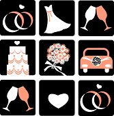 nine wedding icons , template for wedding card