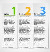 White torn paper progress option label background