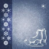 Blue Grunge Winter Background With Skate Boots. Eps10