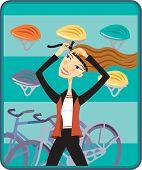 A Woman Putting On A Bike Helmet