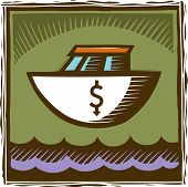 An Image Of A Boat With A Dollar Sign On It