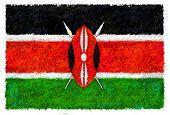 Zeichnung der Flagge Kenia