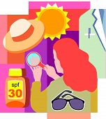 Collage Of A Sun; A Hat; A Doctor's White Coat; Sunglasses; Sunscreen; And A Woman Looking At Her Sk