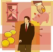 A Montage Of An Hourglass; Man; Money; And Piggybank