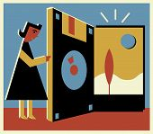 A Woman Opening A Door That Is Made Out Of A Diskette