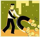 Постер, плакат: Человек с помощью деньги магнит подобрать монеты