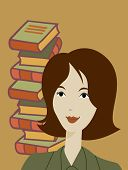 A Woman Smiling In Front Of A Pile Of Books