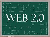 Web 2.0 Word Cloud Concept On A Blackboard