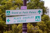picture of charles de gaulle  - bicycle street sign in Paris - JPG