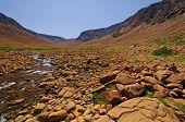 Stream Flowing Through Arid Hills