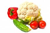 Cauliflower, Peppers, Cucumbers And Tomatoes