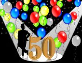 image of 50th  - 50th Birthday Party Balloons illustration for invitation background card or stationery - JPG