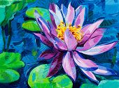 stock photo of lillies  - Original oil painting of beautiful water lily - JPG