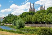 Arlanzon River With Gothic Cathedral In Background, Burgos. Spain