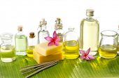 spa supplies with frangipani .image of tropical spa.