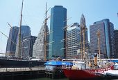 Tall ships in South Street Seaport Museum at Pier 17 in lower Manhattan