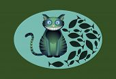 Jolly green striped cat and fish
