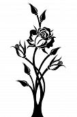 Black silhouette of branch with rose and buds. Vector illustration.
