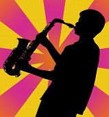 Saxophone Player Silhouette On Retro Ray Background
