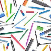 Seamless Background Of Set Of Different Pens.