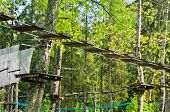 Dangerous Ropeway With Tether In Rope Park, Trees With Green Leaves