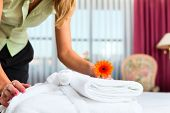 image of maids  - Maid doing room service in hotel - JPG