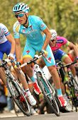 BARCELONA - MARCH, 24: Alexsandr Dyachenko of Astana rides during the Tour of Catalonia cycling race