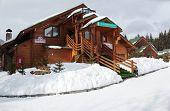 BUKOVEL, UKRAINE - FEBRUARY 23: Lounge bar in a wooden house at Bukovel, Ukraine on February 23, 2013. Bukovel is the most popular ski resort in Ukraine