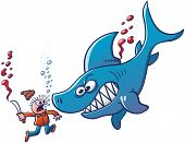 Angry Shark Fighting Back against Finner