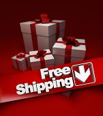 Group of presents with a banner stating free shipping