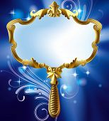 Isolated raster version of vector image of gold Magic mirror on the luminous blue starry background with decorative elements (contain the Clipping Path)