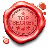 picture of top-secret  - top secret confidential and classified information private property or information red wax seal stamp - JPG