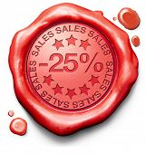 25% off sales summer or winter reduction extra low price buy for bargain limited offer icon red wax