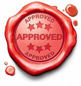 approved passed test and access granted approval and accepted accredited red stamp label or icon