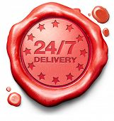 24/7 package delivery from online internet web shop shipping order from webshop shopping red label icon or stamp