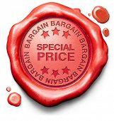 special price bargain or reduction hot offer sale red stamp label or icon