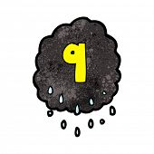 cartoon raincloud with number nine