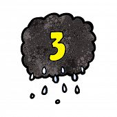cartoon raincloud with number three