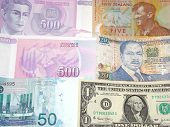 picture of nzd  - A photo of multiple country currency such as Malaysian Ringgit US Dollar New Zealand 5 Dollar Dinara 500 and Kenya - JPG