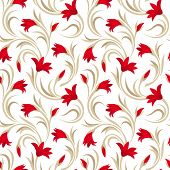 image of gladiolus  - Vector seamless pattern with red gladiolus flowers and beige leaves on a white background - JPG