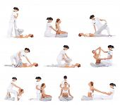 Set collection with many different images of the woman getting traditional thai stretching massage by therapist isolated on white background