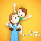 image of piggyback ride  - illustration of father giving boy piggy back ride in Father - JPG