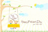 illustration of kids enjoying swing ride in park in Father's Day