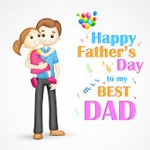 illustration of father holding daughter in his arm in Father's Day