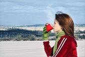 Girl Drinking Warm Beverage