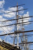 stock photo of sark  - Looking up at the masts of Cutty Sark in Greenwich London - JPG