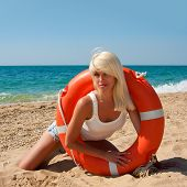 Beautiful Lifeguard At Sea
