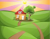 Cosy cartoon house in rural setting