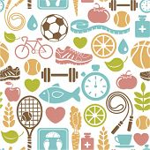 foto of meat icon  - seamless pattern with healthy lifestyle icons - JPG
