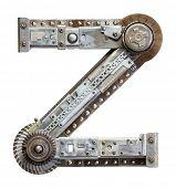 Industrial metal alphabet letter Z
